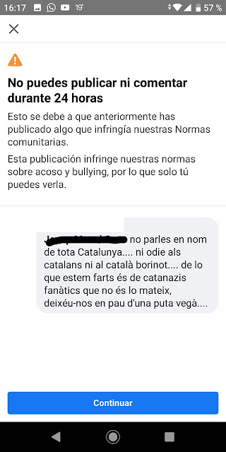 Facebook, Barcelona, censura