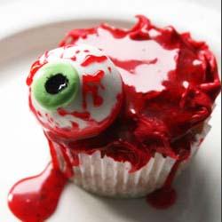 real looking blood eyeball body parts cupcake DIY tutorial