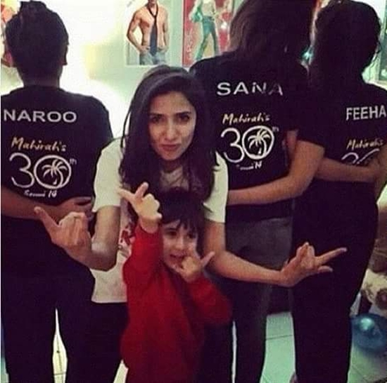Mahira Khan posing with Azlaan
