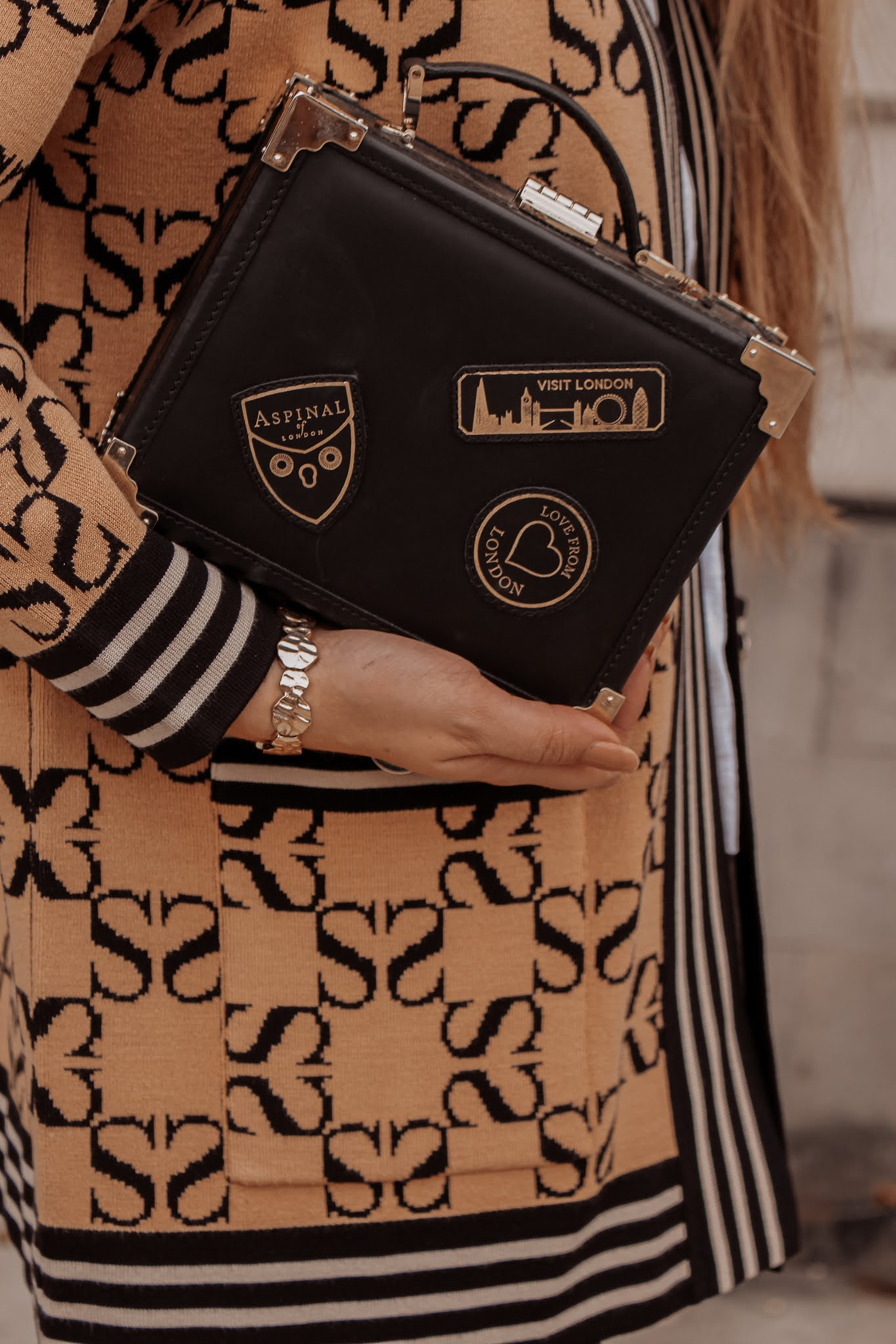 Aspinal of London Trunk Black Patches Bag