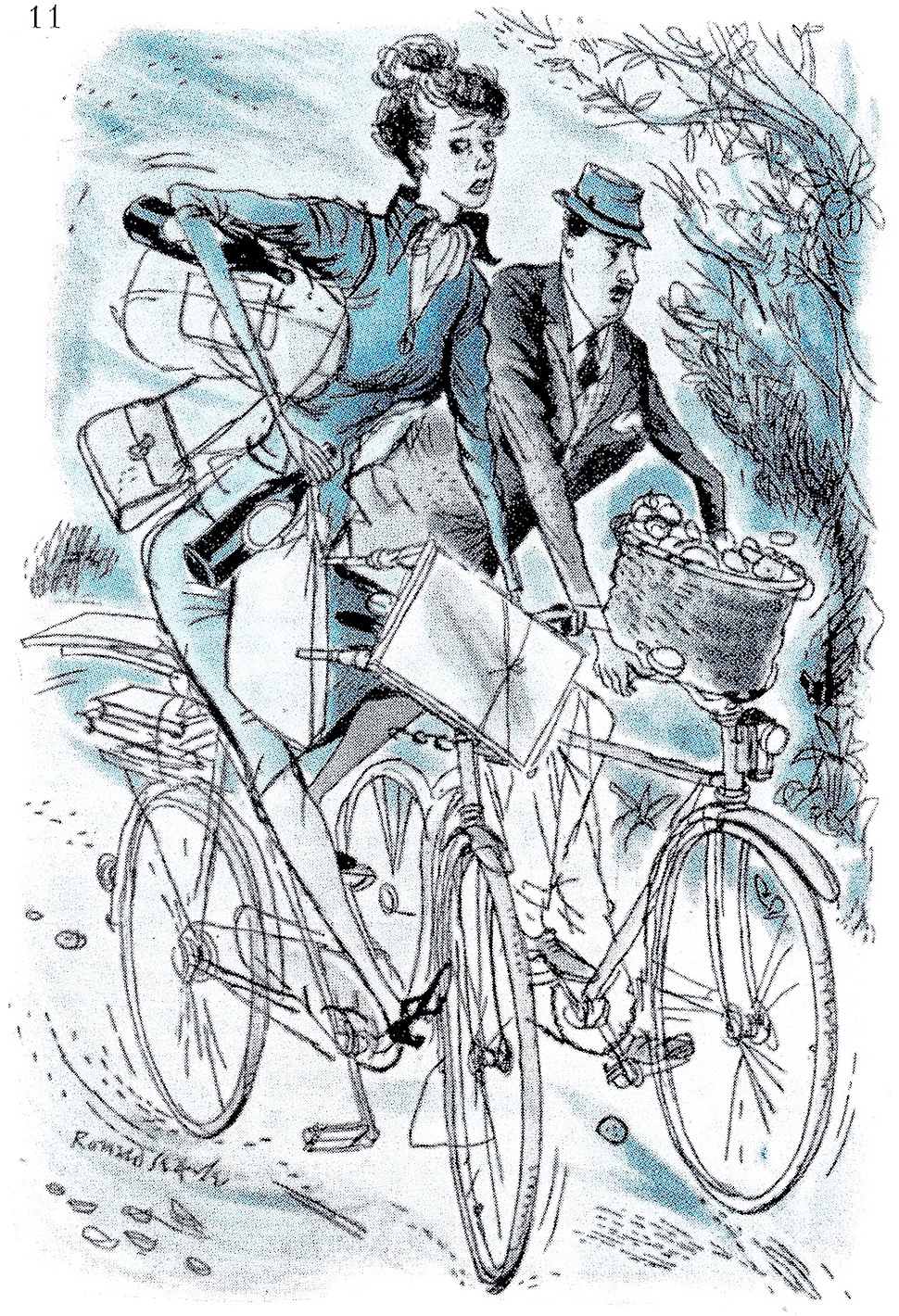 a Ronald Searle illustration od two English sophisticates on bicycles with groceries on a rough road