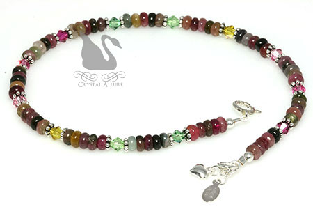 Rainbow Crystal Watermelon Tourmaline Gemstone Beaded Anklet (A120)