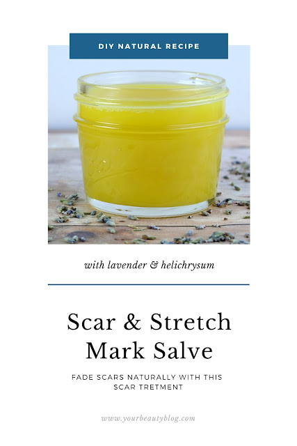 Homemade scar treatment salve with helichrysum and lavender essential oil. This scar salve recipe has moringa, rosehip oil, beeswax and shea butter to fade scars with natural ingredients. This recipe is best for scars on your body or face, even from acne. It fades new and old scars, but old scars will take longer.  Make a DIY salve to fade scars and stretch marks. #salve #diy #scarsalve #helichrysum
