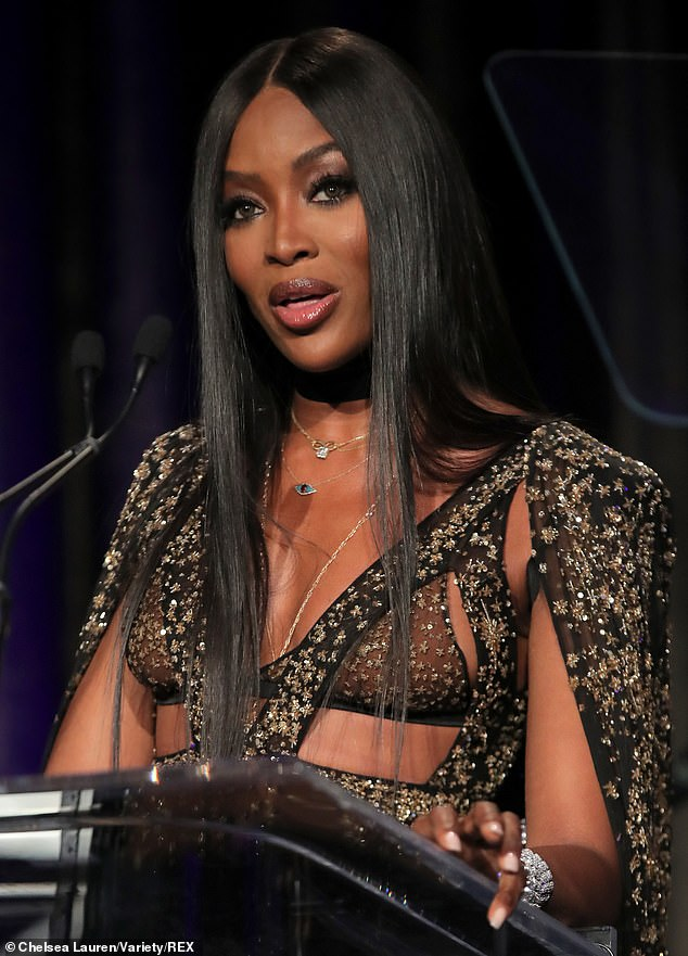 Naomi Campbell looks incredible in sheer gown at American Icon Awards in Beverly Hills