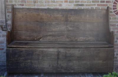Pine Hall Bench (ref # 3361) 126 cm h x 190 cm w x 49 cm d via Garnier as seen on linenandlavender.net