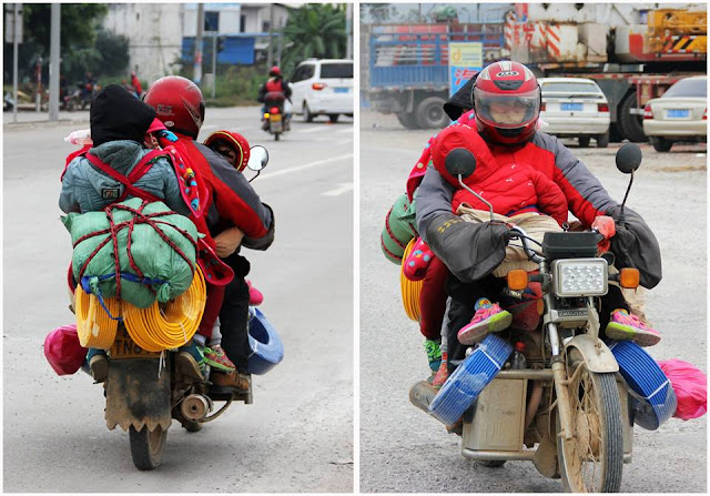 A family of five squeezed onto the motorbike