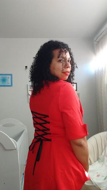 Recebidos Loja Dresslily blusa vermelha detalhes costas