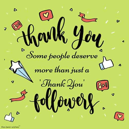 thank you to followers
