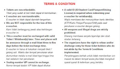 Terms and condition e-voucher konser BTOB di Jakarta
