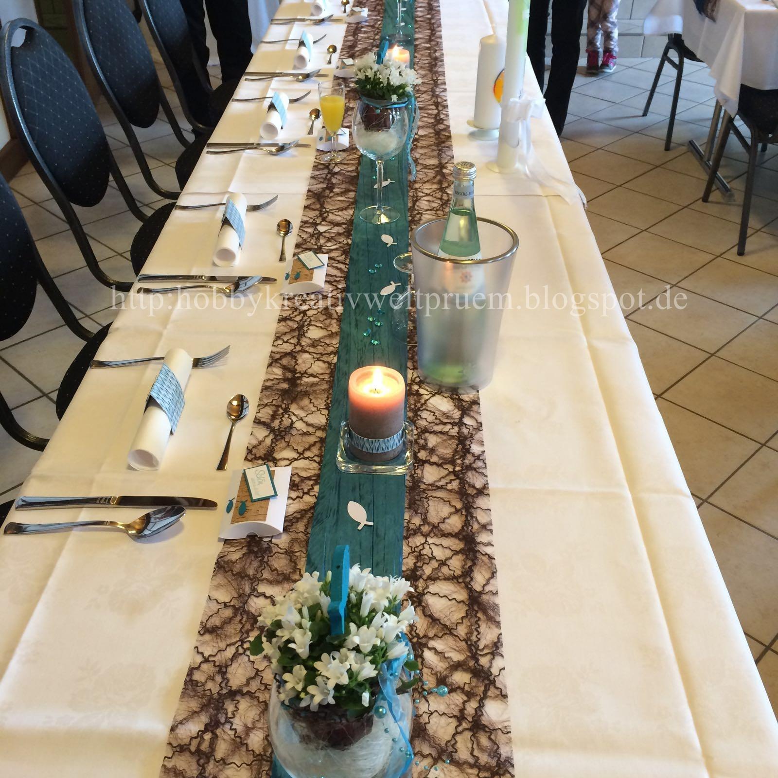 Hobby Kreativ Welt Tischdekoration In Petrol Und Braun