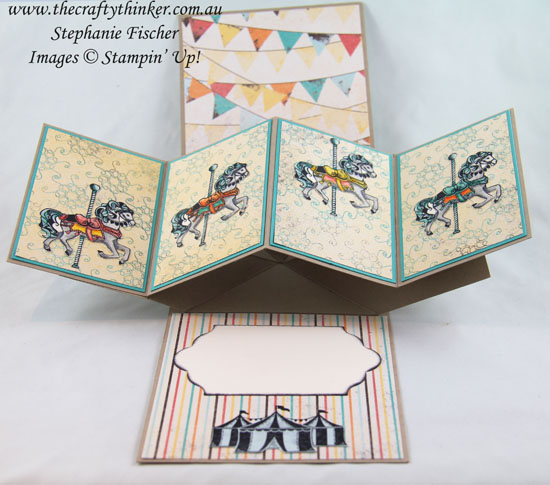 Pop & Twist fun fold, Cupcakes & Carousels, Birthday Card, #thecraftythinker, Stampin Up Australia Demonstrator, Stephanie Fischer, Sydney NSW