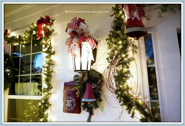 Cottage -Farmhouse- Christmas- Porch-Jingle-Bells-DIY-Bows-Lantern -From My Front Porch To Yours