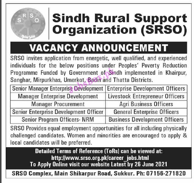 SRSO jobs 2021 | Sindh Rural Support Organization jobs 2021