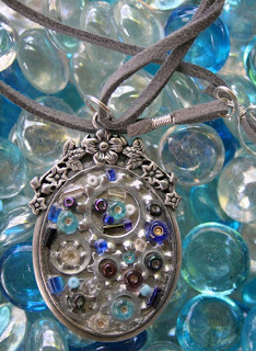 Steampunk pendant (metal, seed beads, hardware, leather) :: All Pretty Things