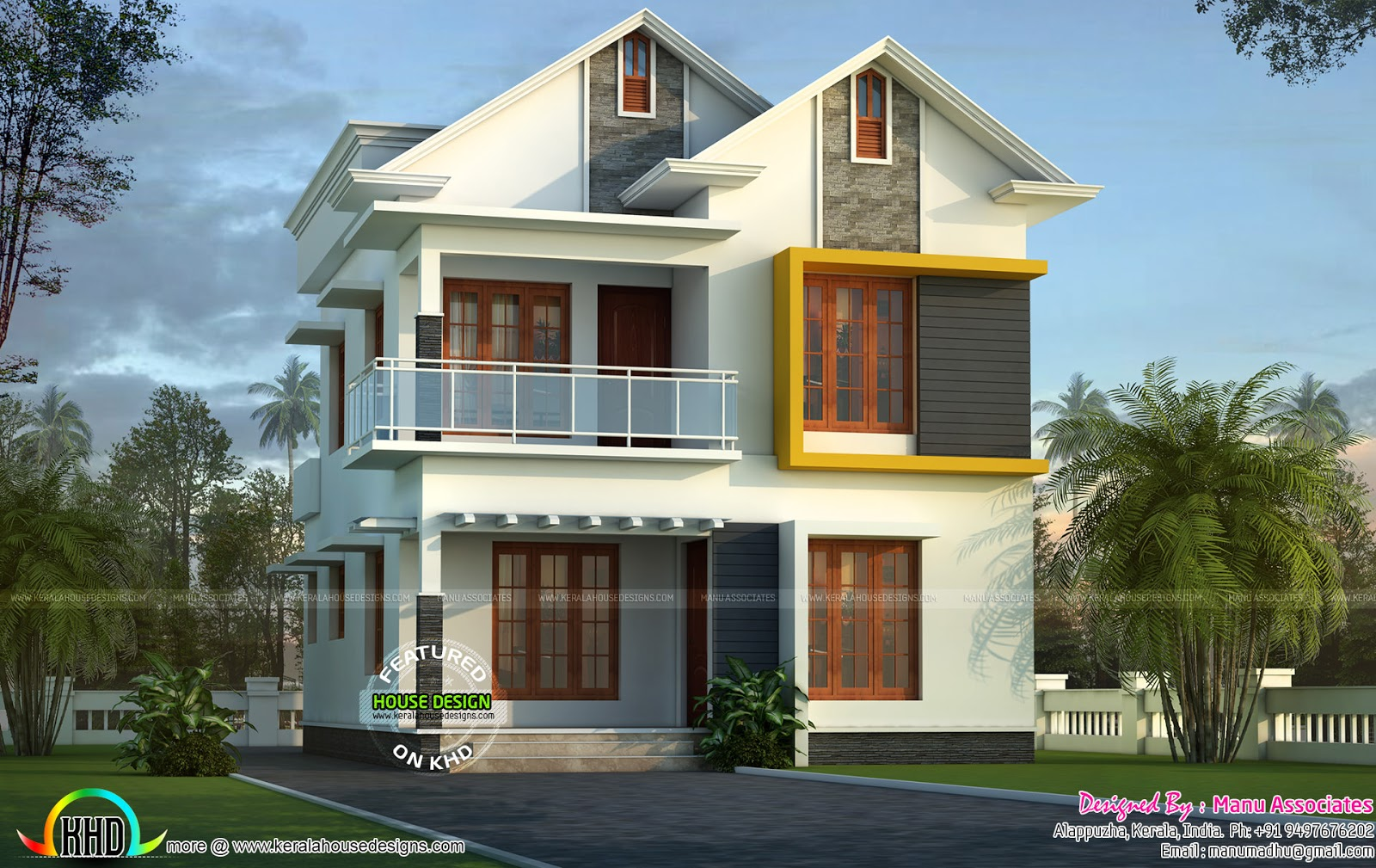 Cute small kerala home design kerala home design and for Small contemporary house plans in kerala