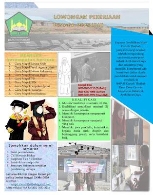 Lowongan Kerja Aceh Guru SMP-IT