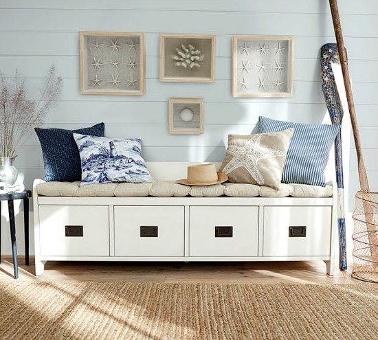 White Drawer Storage Bench