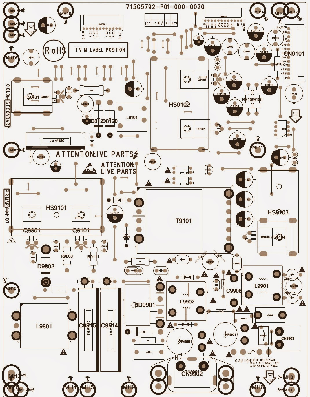 Philips Led Lcd Tv 32pfl3008d 39pfl300bd 46pfl3008d Power Phillips Drivers Wiring Diagram Driver Pcb Top Bottom Views
