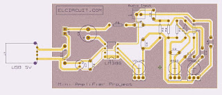 Layout PCB LM386 USB Power Amplifier