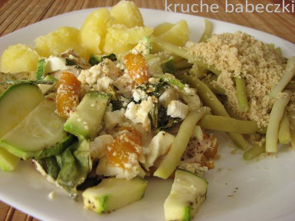 Fasolka szparagowa, kurczak i warzywa