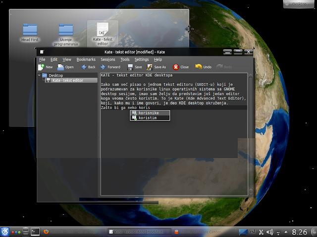 KATE - tekst editor KDE desktopa