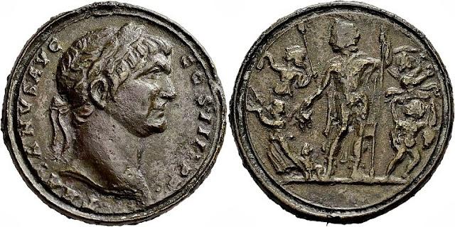 Medallón contorniato con busto del emperador Trajano