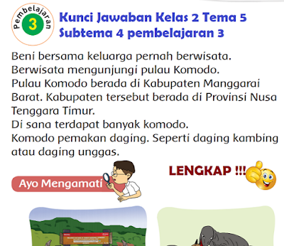 Kunci Jawaban Tematik Kelas 2 Tema 5 Subtema 4 pembelajaran 3 www.simplenews.me