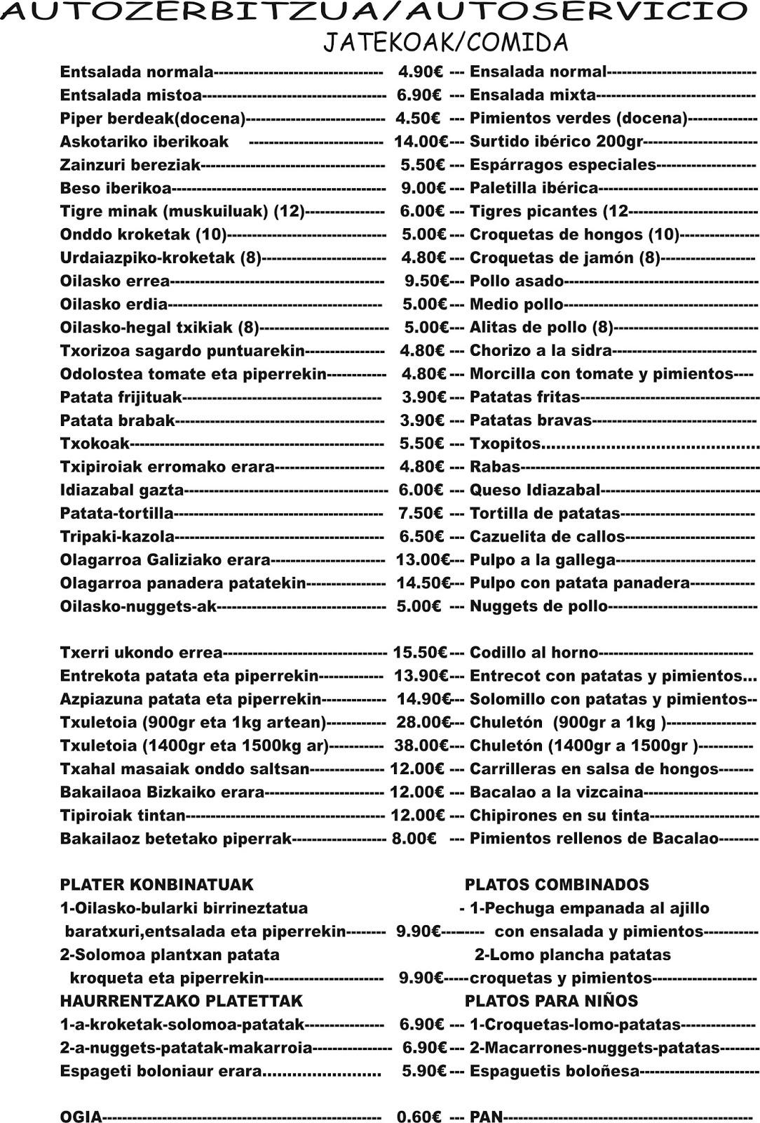 Mendikosolo taberna plater zerrenda eta prezioak lista for Platos precios