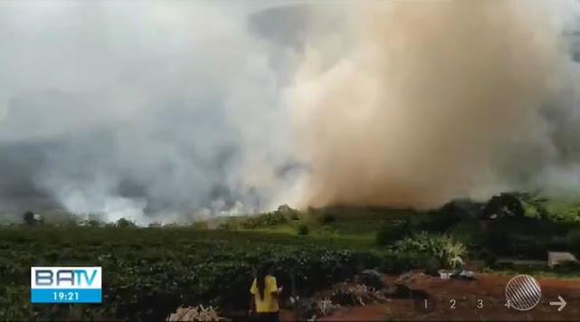 Incêndio atinge vegetação na Chapada Diamantina (Foto: Reprodução / TV Bahia)