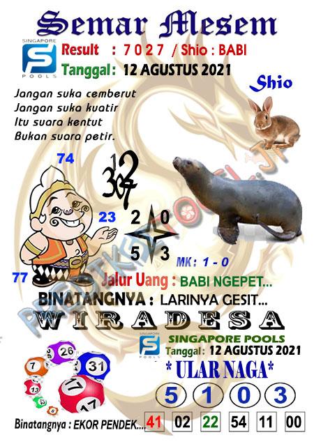 Syair Semar Mesem SGP Kamis 12-Agt-2021