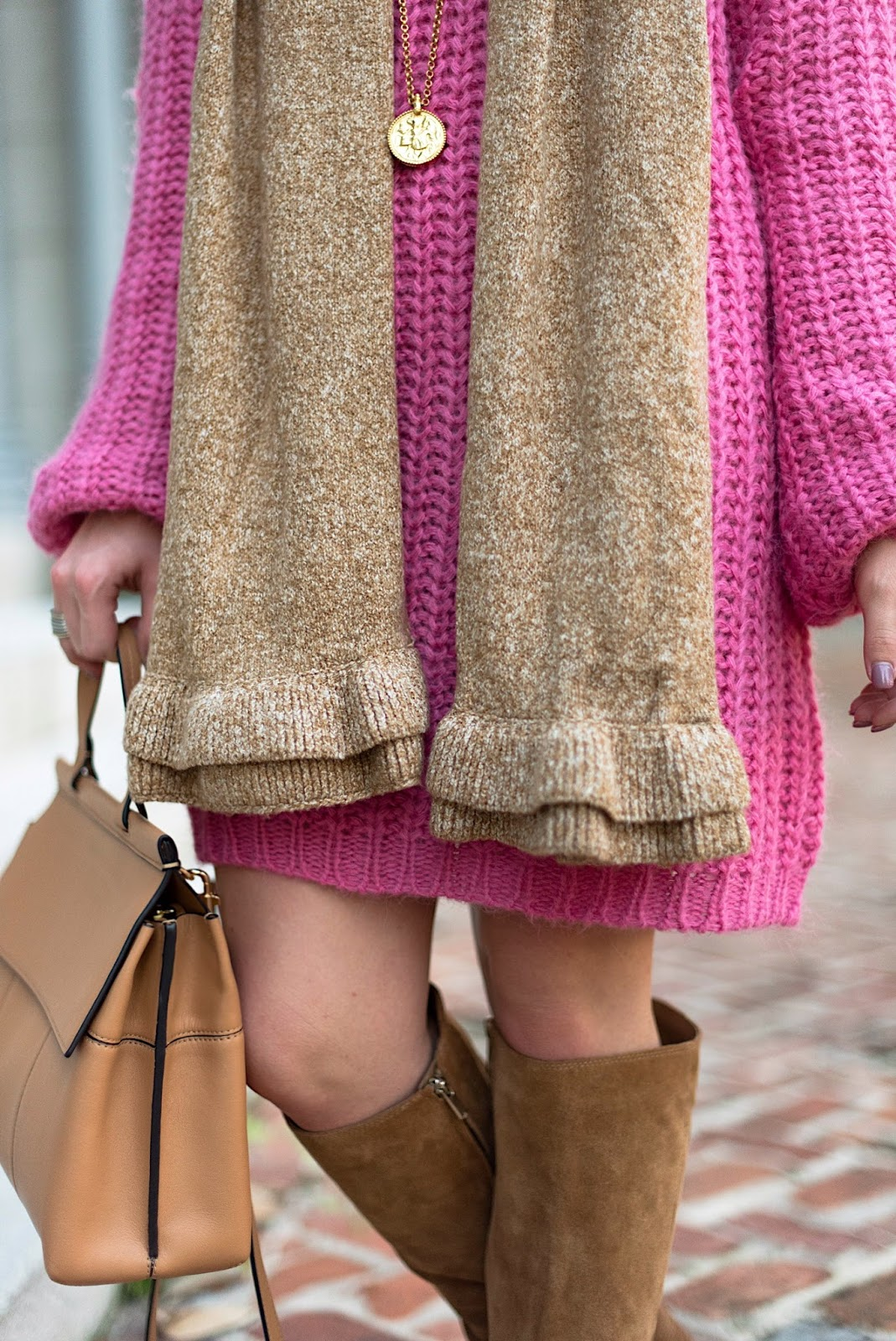 Pink Sweater Dress + Ruffle Scarf - Something Delightful Blog