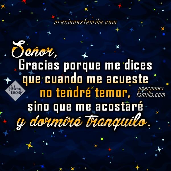 Oración con frases de buenas noches, oraciones para dormir tranquilo, imágenes con plegarias antes de ir a la cama, paz para mi familia y mi país, frases por Mery Bracho.