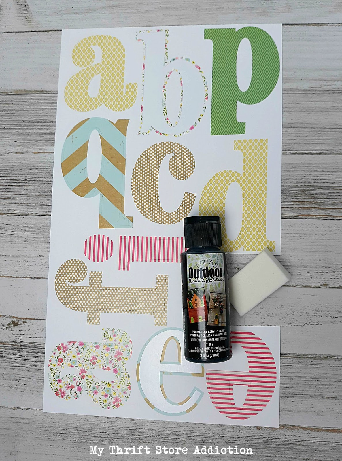 DIY stencil using leftover stickers