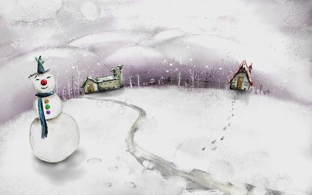 Kerst plaatje met huizen en sneeuwpop