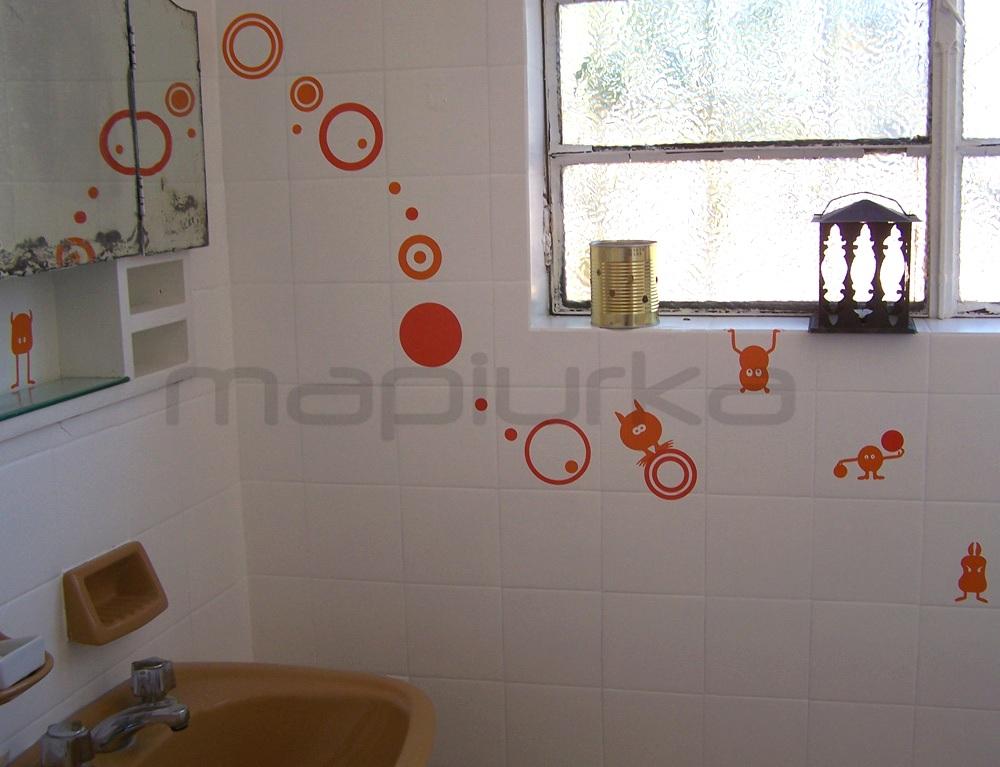 Mapiurka adhesivos decorativos ba bicharracos en el for Great un bano con paredes en naranja de