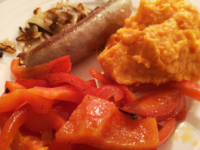 Sweet potato mash with bratwurst