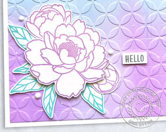 Sunny Studio Stamps: Embossing Folders Pink Peonies Card by Anja Bytyqi