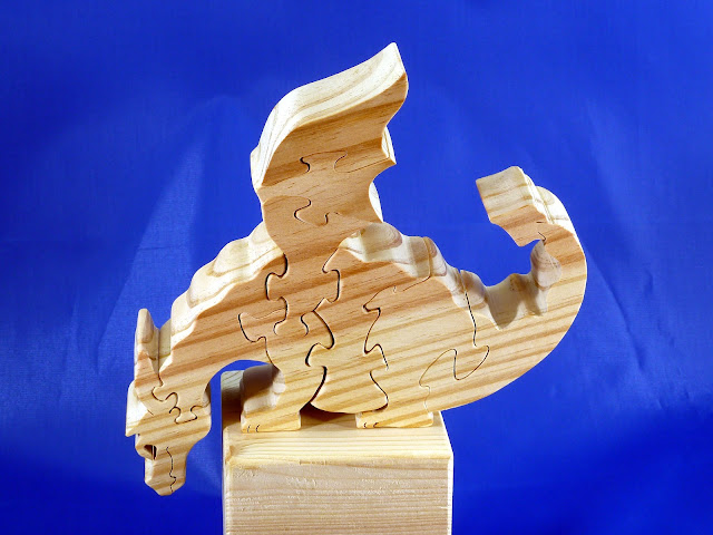 Left Side Top - Wooden Toy Puzzle - Dragon - Yellow Pine - Unfinished - 7.5x6x15 Inches