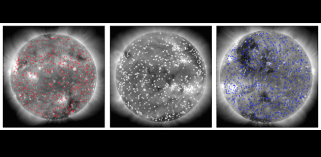 Coronal bright points identified in images of the Sun taken simultaenously from three distinct vantage points in space. From left, images were captured by STEREO-Behind, SDO, and STEREO-Ahead. (Image courtesy Scott McIntosh, NCAR.)