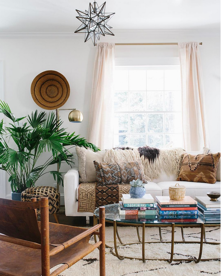 boho living room, houseplant, interior design,oriental style