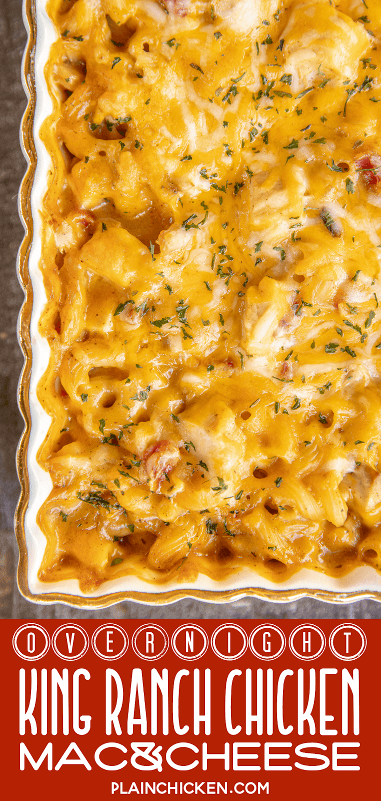 cheesy chicken pasta in casserole dish
