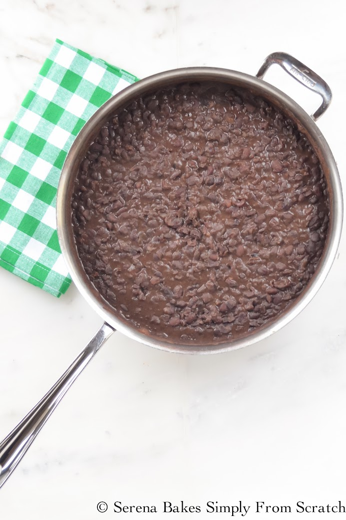 Easy to follow recipe for Refried Black Beans recipe from Serena Bakes Simply From Scratch.