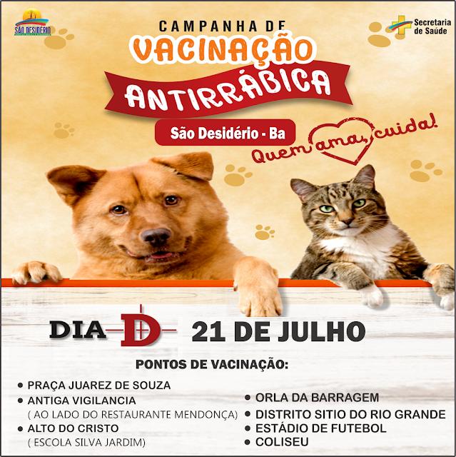 Dia D da Campanha de Vacinação Antirrábica será neste sábado, 21, em São Desidério