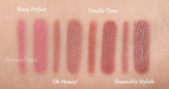 MAC Double Time Staunchly Stylish Posy Perfect Oh Honey Swatch