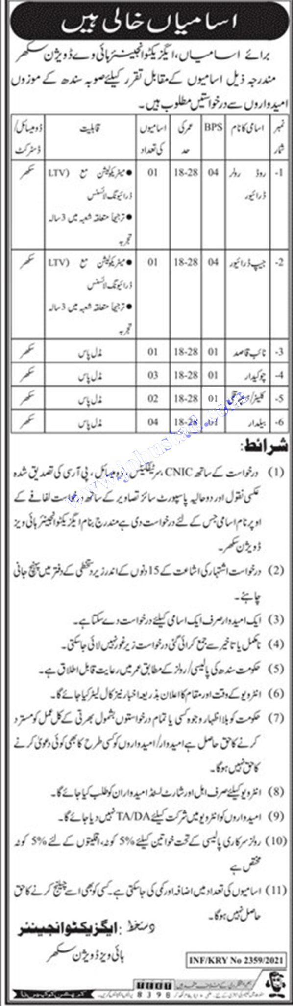 Highways Department Jobs 2021 | Govt of Sindh Jobs Latest Advertisement