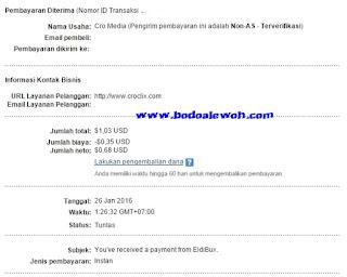 Pembayaran pertama dari PTC EldiBux