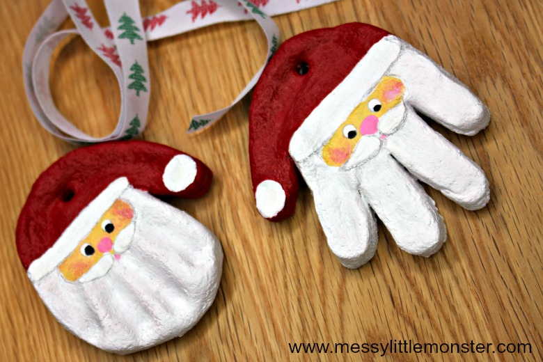 santa craft - salt dough handprint ornament