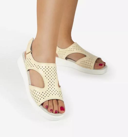 Sandale piele naturala bej comode si lejere la moda