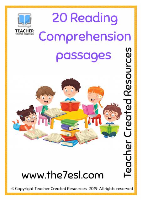 Free Kindergarten 20 Reading Comprehension passages