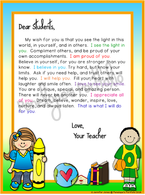 Letter to Student - School theme